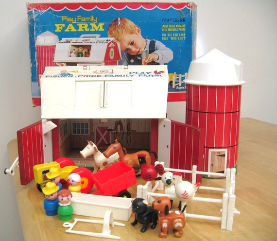 Vintage Fisher Price Farm Complete Set With Box 1968-1979