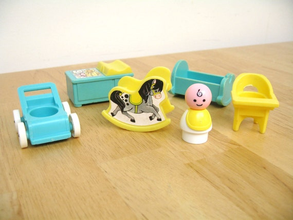 Vintage Fisher Price Nursery Pieces with Baby