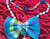 Sparkly Silver Anchor Blue Green Plaid Bow Glass Bead Double Chain Necklace