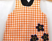 Reversible Pinny Top and Baby Ruffle Pants (Diaper Cover) Set - Size 12M Size 0, black and orange