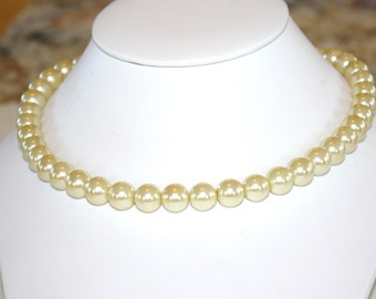 Pearl necklace Swarovski 10mm ivory pearl necklace with sterling toggle clasp 18 inches long