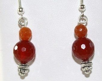 Faceted carnelian earrings on sterling silver ear wires