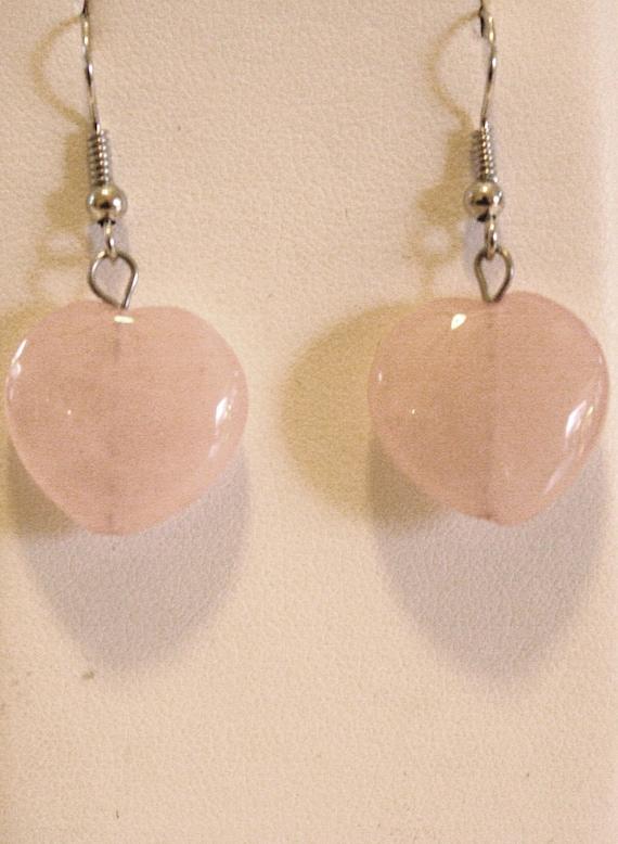 Rose Quartz genuine heart shaped earrings on sterling silver earwire