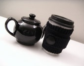 Black Knit Cup Cozy and Knitted Wrist Accessory - Ebony