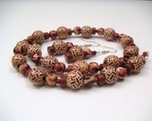 Red and Brown Mixed Beads Necklace and Earrings - Red Clay