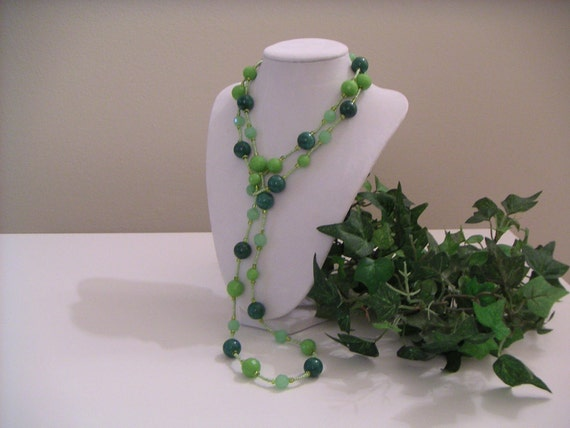 Green Mixed Beads Necklace and Earrings - Shades of Green