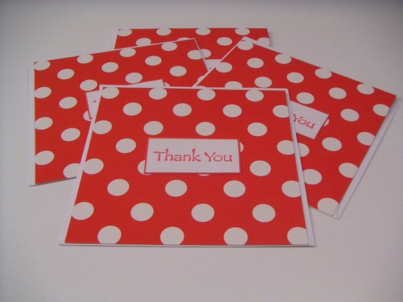 Set of Four Red and White Polka Dot Handmade Stamped Thank You Greeting Cards - Thank You