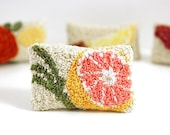 Custom Listing for Carol - Pink Grapefruit and Lemongrass Miniature Sachet. Punch Needle Embroidery. Spring Home Decor.