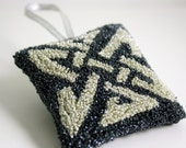 Irish Celtic Knot Hanging Sachet Ornament Pewter and Light Silver Gray Metallic Sparkly Balsam Fir Under 25 for Her Ready to Ship