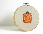 Pumpkin Autumn Fall Thanksgiving Holiday Home Decor Embroidery Hoop Art Punch Needle Wall Hanging Orange Green Natural Colors