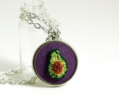Valentines Day Necklace. Tiny Avocado Silver Necklace. Punchneedle Embroidery. Green, Purple, Brown. Quirky Foodie. Embroidered Necklace.