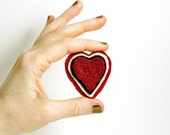 Valentine Red Heart Pin. Punchneedle Embroidery Brooch. Red, Cream, Chocolate Brown. Valentines Day by Harp and Thistle