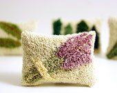 Lavender Sachet. Punch Needle Embroidery Miniature Sachet. Purple, Green, Cream. Home Decor, Great Bridesmaid Gift.