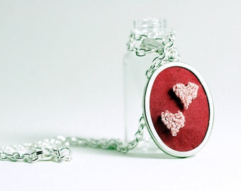 Ready to Ship! Valentine's Day Jewelry Necklace - Double Heart Punchneedle Embroidery Necklace in Silver. Red Silk, Pink Hearts.