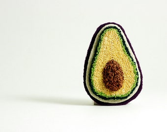 Avocado Pin. Punchneedle Embroidery. Green, Purple, Brown. Large. Quirky Fun Fashion for Her.
