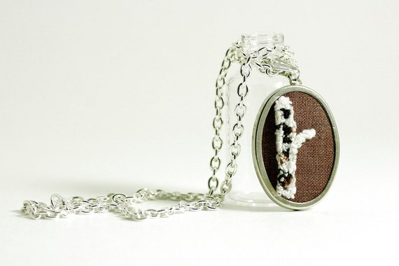Birch Tree Silver Necklace. Punchneedle Embroidery. Brown, Cream, Earth Tones. Woodland Theme Under 40.