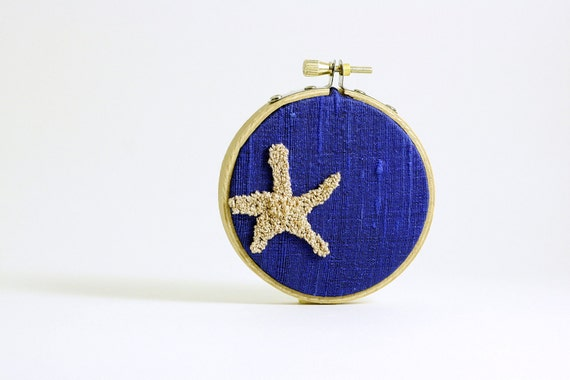 Starfish Punchneedle Embroidery Hoop Art. Cobalt Blue Silk. Nautical Inspired Cottage Decor, Beach House Decor.  3 Inch Size
