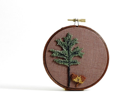 Oak Leaf and Acorns Punch Needle Botanical Embroidery Hoop Art. Eco Friendly Home Decor. 4 inch hoop. Woodland Theme - Ready to Ship.
