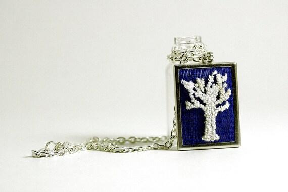 White Winter Tree Silhouette Necklace on Cobalt Blue Silk. Sapphire Blue. Rectangular Punchneedle Embroidery Silk. Woodland