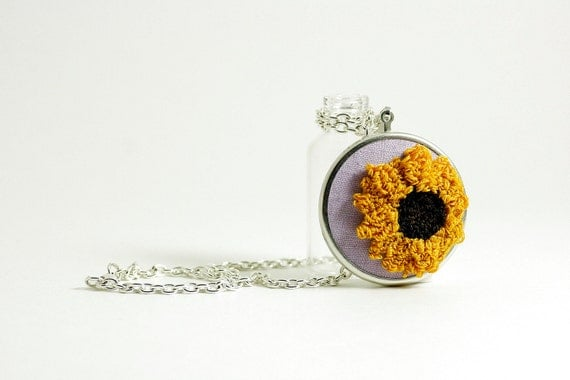 Sunflower Silver Pendant Necklace. Yellow, Purple, Brown. Punchneedle Embroidery Fiber Art.  Ready to Ship Fashion Under 40