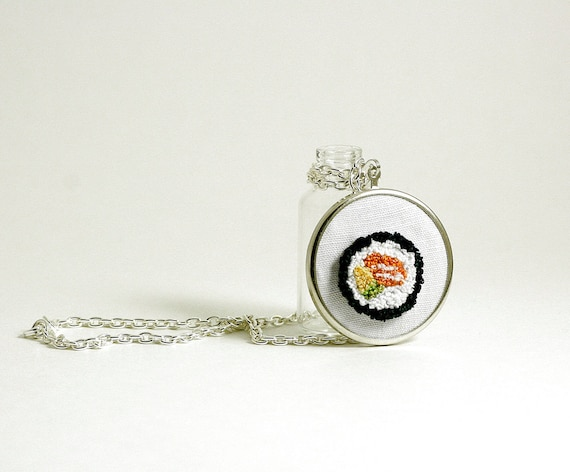 Sushi Salmon Avocado Silver Pendant Necklace. Orange, Green, Yellow. Punchneedle Embroidery Fiber Art.  Summer Fashion Under 40.