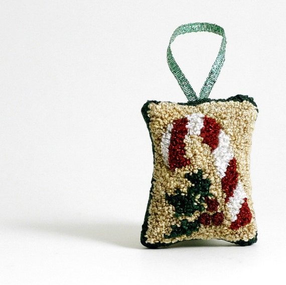 Christmas Ornament, Candy Cane and Holly. Punchneedle Holiday Home Decor. Red, White, Gold, Green. Balsam Fir and Eucalyptus Sachet.