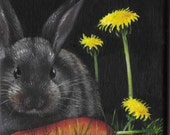"Backyard Bunny      Original Small Format Acrylic Painting 4"" X 4"""
