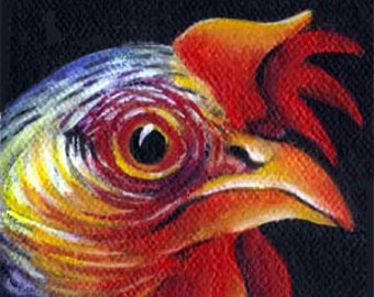 Miniature Acrylic Painting  KING of the COOP