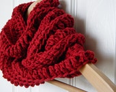 FREE SHIPPING Red Infinity Scarf, Cotton Cowl in Poppy Red