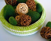 OOAK SALE Large Cotton Lime Chartreuse Basket Ready To Ship