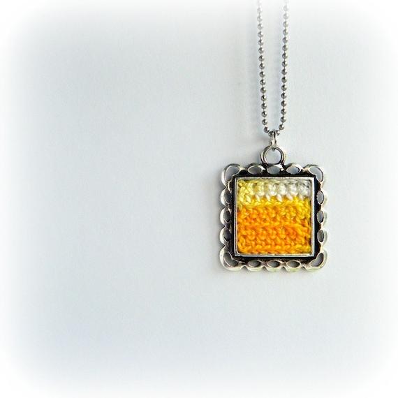 Sunshine Yellow Square Pendant. Handmade crocheted cotton lace pendant necklace