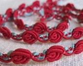 Pretty little RED rosette guimp trim