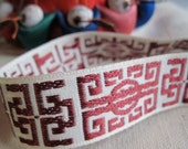 Zen jacquard woven ribbon CRANBERRY on NATURAL