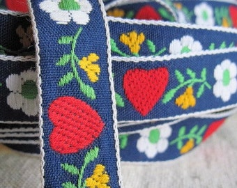 SWEETISH HEARTS jacquard ribbon in Navy