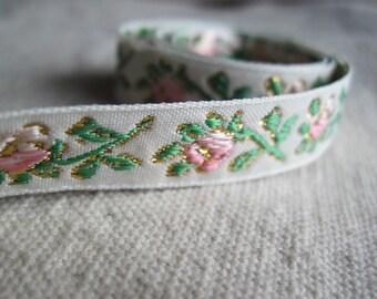 Pink ROSEY POSEY decorative jacquard ribbon