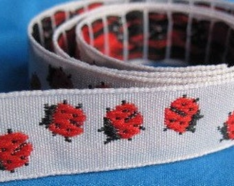 Ladybugs jacquard ribbon