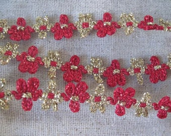 GOLD and RED flower trim