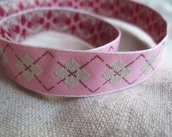 Argyle candy PINK jacquard ribbon