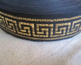 GREEK KEY gold on black jacquard ribbon