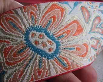 Tangerine and Teal Floral burst Extravagant Jacquard Woven ribbon