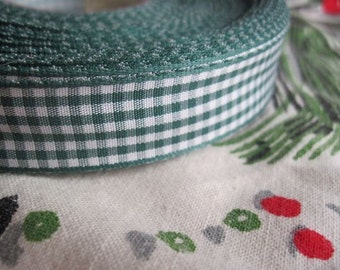 dark GREEN gingham Ribbon