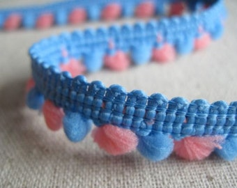 mini pom pom ball fringe PINK and Periwinkle Blue