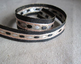 Diamond pond Metallic Jacquard ribbon in Black
