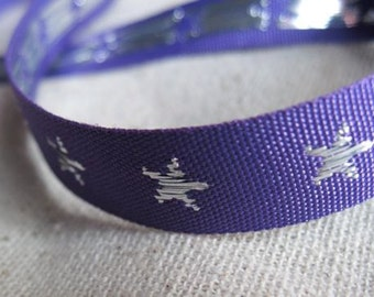 STARS jacquard woven ribbon in SILVER and PURPLE