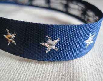 STARS jacquard woven ribbon in SILVER and deep BLUE