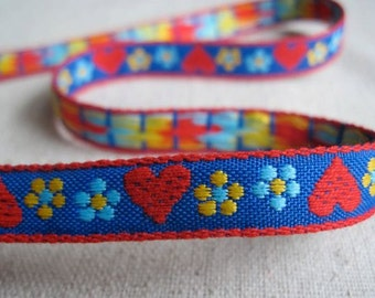 Hearts and Blooms woven jacquard ribbon BLUE