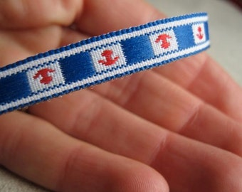 RED WHITE and BLUE anchor jacquard Ribbon