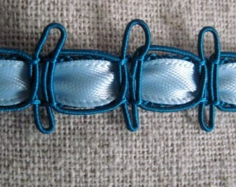 TEAL blue and light Blue Embellished Ribbon trim