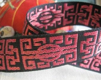 Zen jacquard woven ribbon BERRY on BLACK