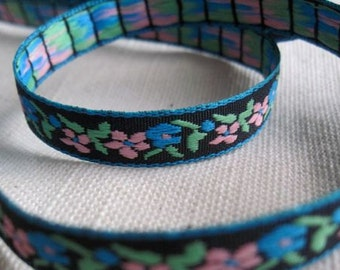 small GARDEN ribbon in light Pink and Teal on Black